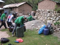 Porters getting ready for the morning departure